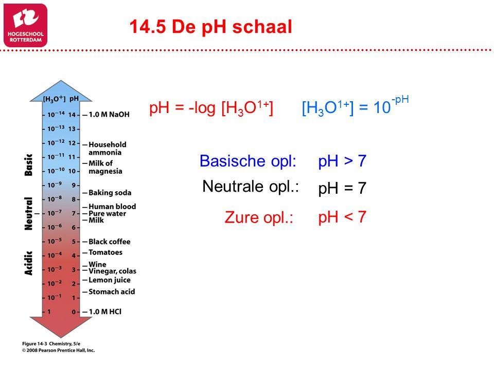 14.5 De pH schaal pH = -log [H3O1+] [H3O1+] = 10 -pH Basische opl: